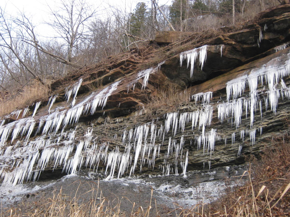Icicles forming along the gorge walls.