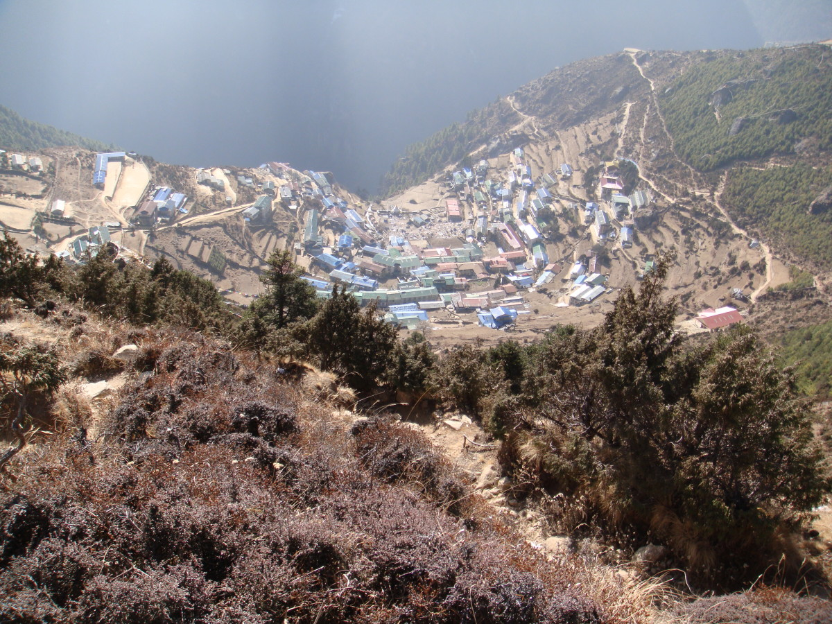 Looking down on Namche Bazaar