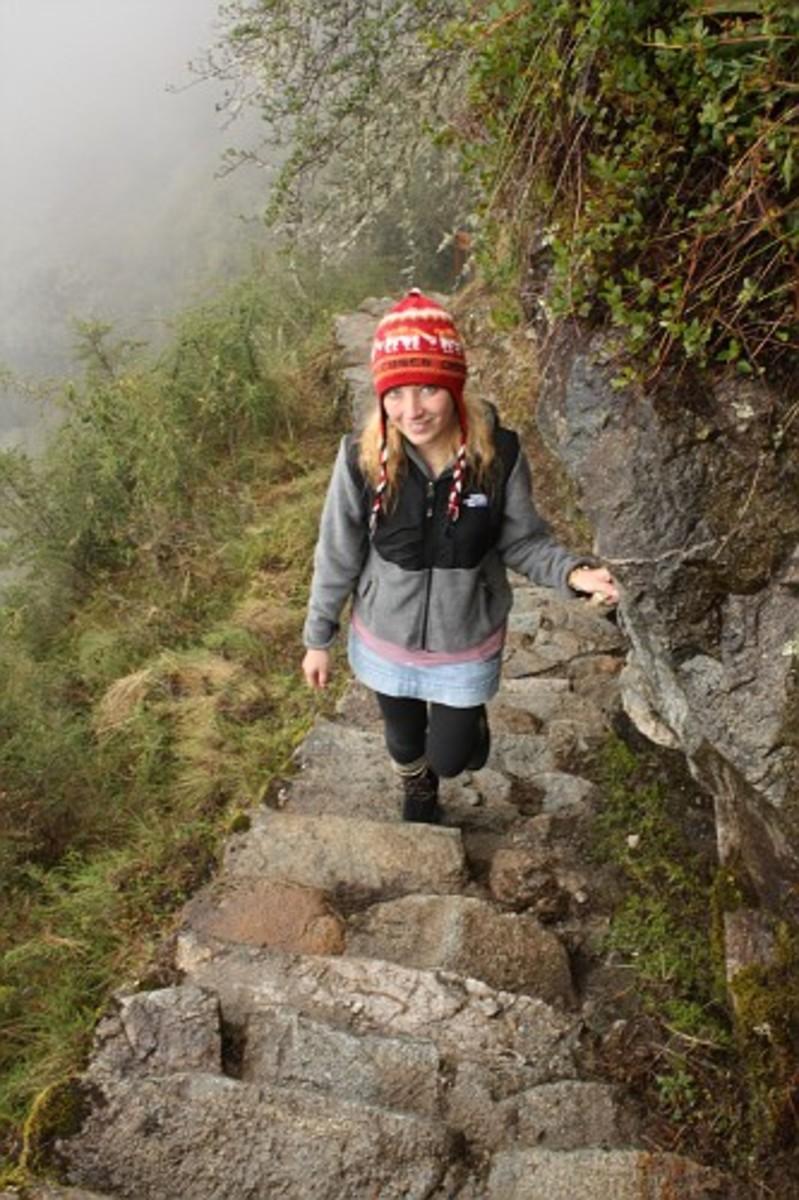 Hiking uphill Camino Inca