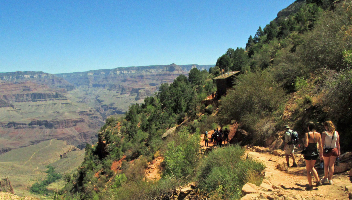 Approaching the 1.5 mile rest stop on the Bright Angel Trail, Grand Canyon.