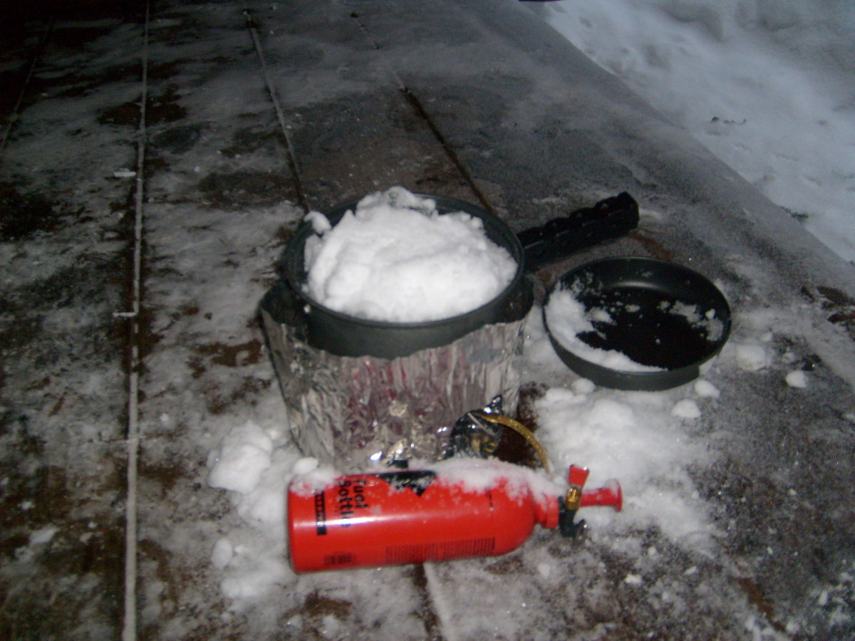 Melting snow to make water is a laborious and time consuming activity for winter backpackers.