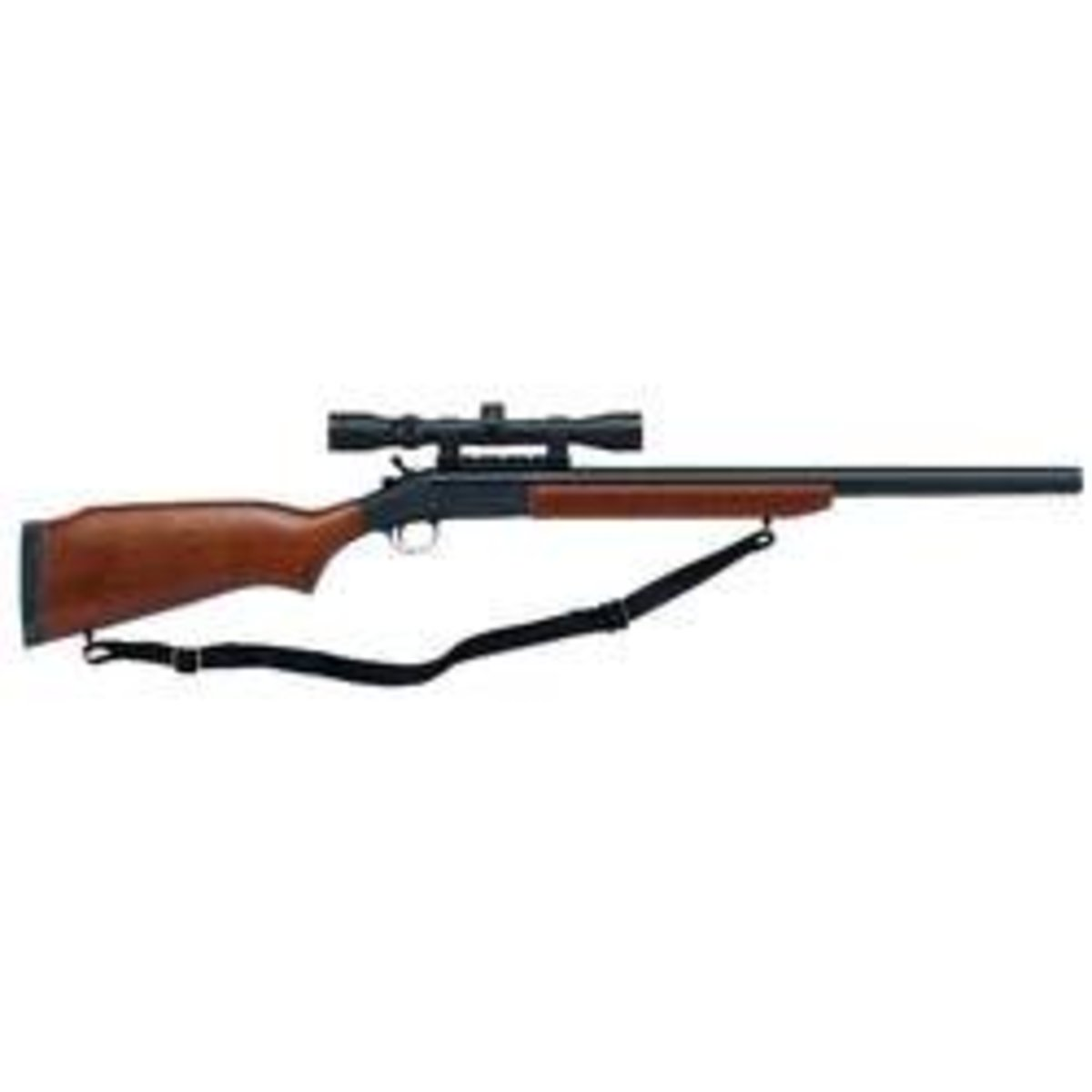 "H&R Ultra Slug Hunter Single Shot Shotgun 12 Gauge 24"" Rifled Barrel 3"" Chamber Hardwood Stock Blue Barrel 3-9x32mm Scope"