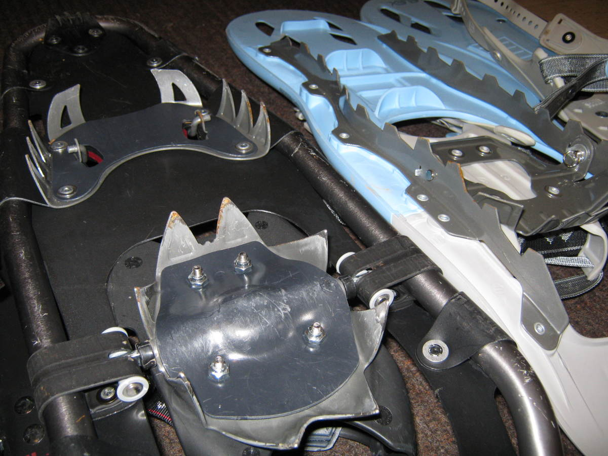 Snowshoe crampons make walking on ice and climbing very easier.  Left, Tubbs Mountaineers / Right, Tubbs, TRK