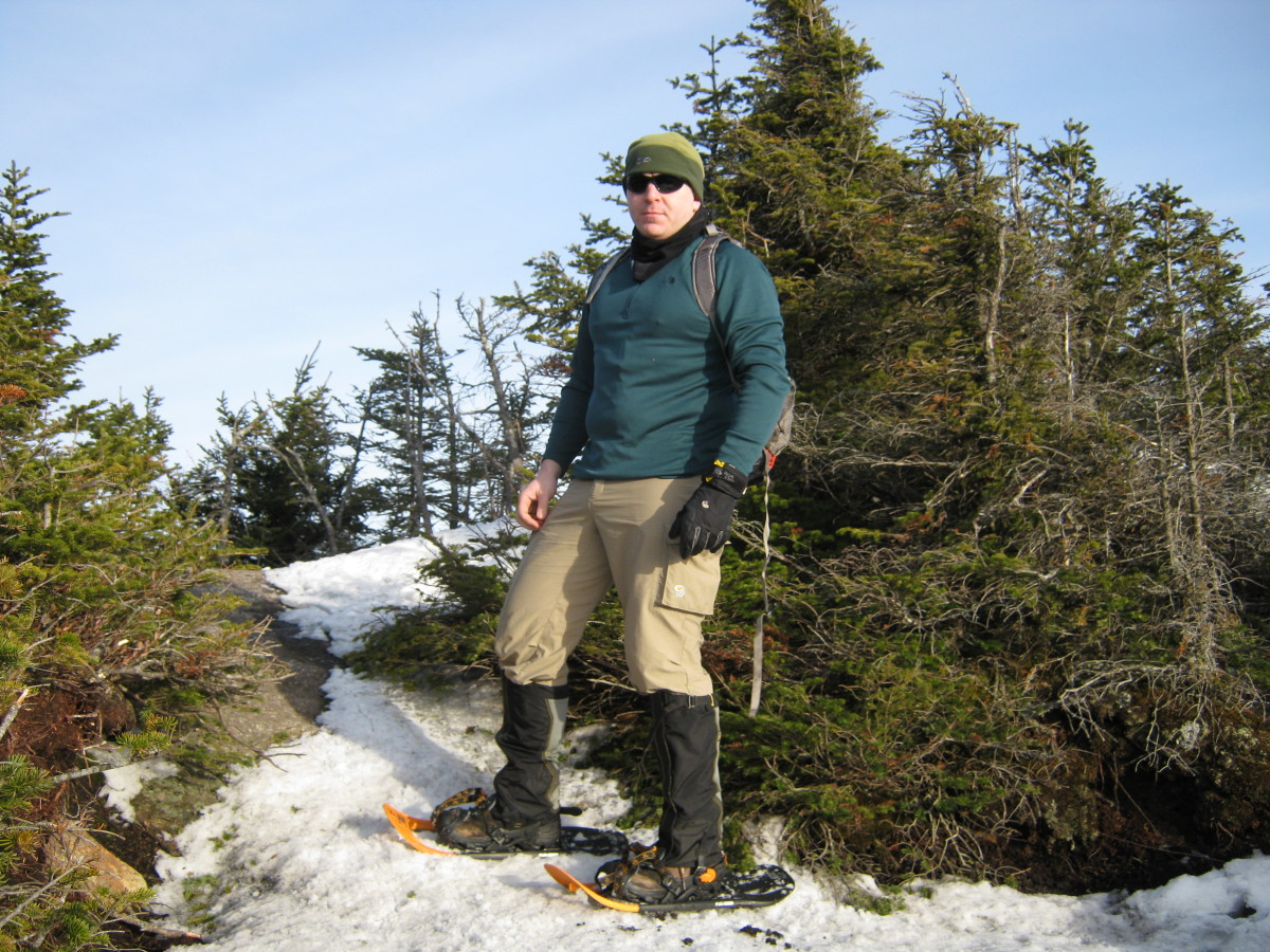 Snowshoeing in the Adirondack Colvin Range in April.  Note the gaiters: they do a fantastic job of keeping your lower legs dry and snow out of your boots.