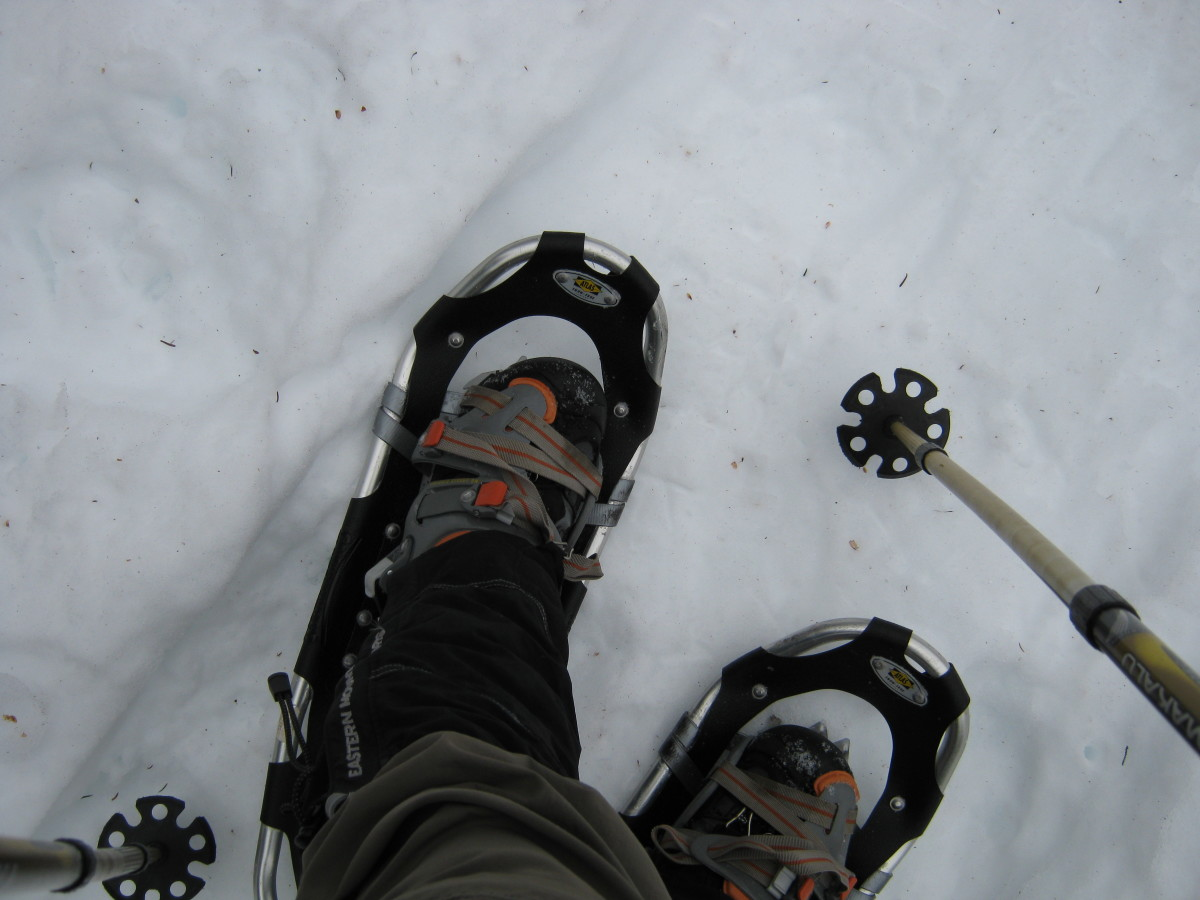 The snowshoe you choose depends upon your weight and the terrain in which you'll be hiking.  In the above picture, me in a pair of Atlas 1025 snowshoes.