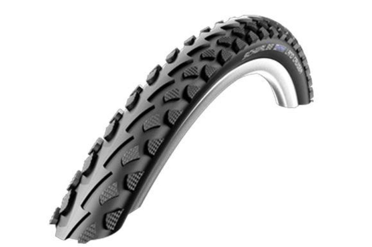 Schwalbe semi-slick puncture protected mountain bike tire.