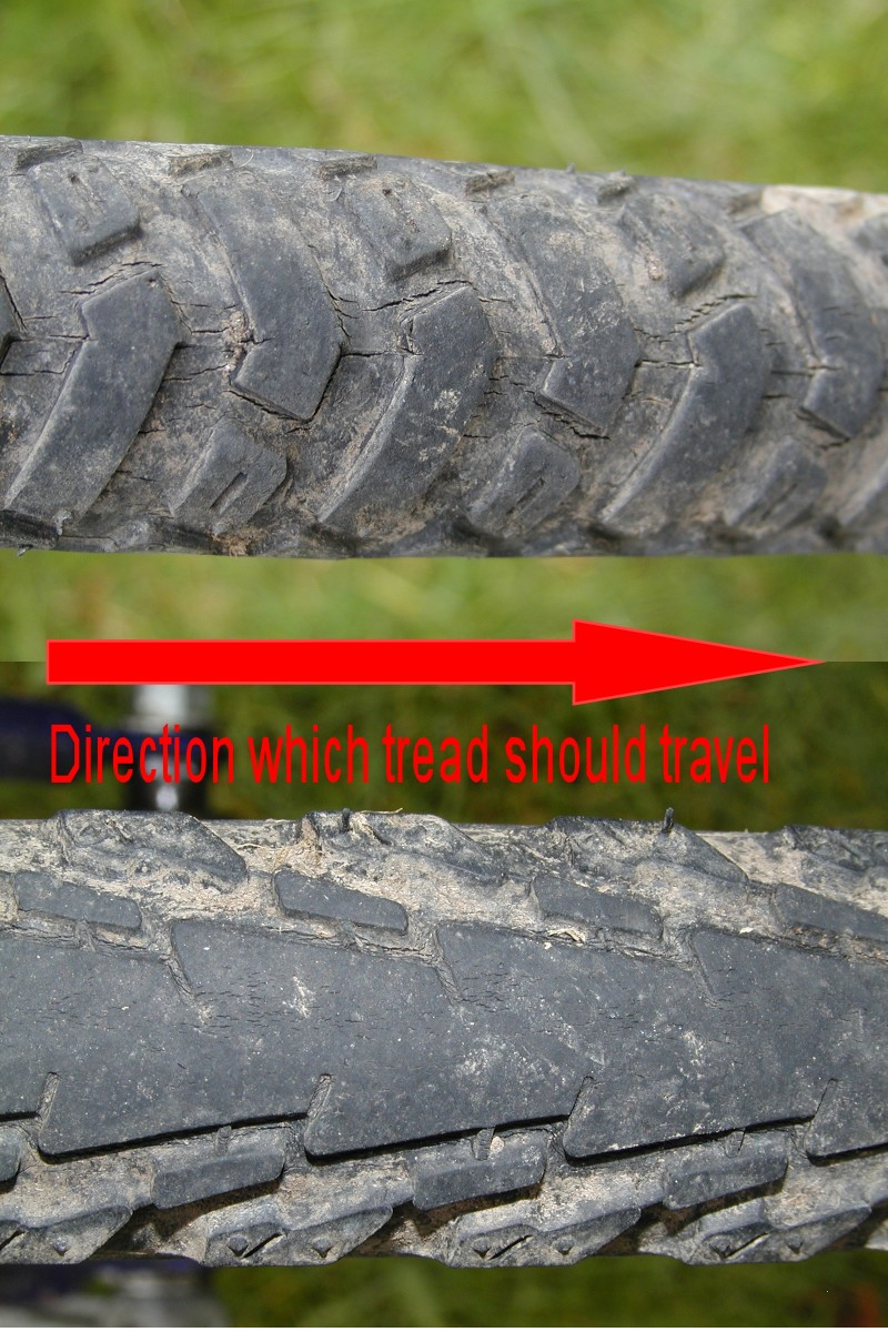 """Usually the front tire turns in the direction the """"vs"""" of the thread point, and vice versa for the rear, but roll direction is often embossed on the side wall of the tire."""