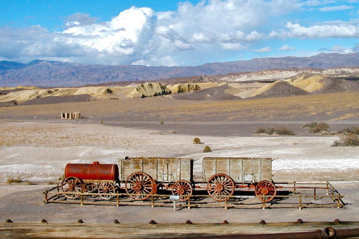 20-mule-team borax wagons at the Harmony Borax plant, Death Valley, California