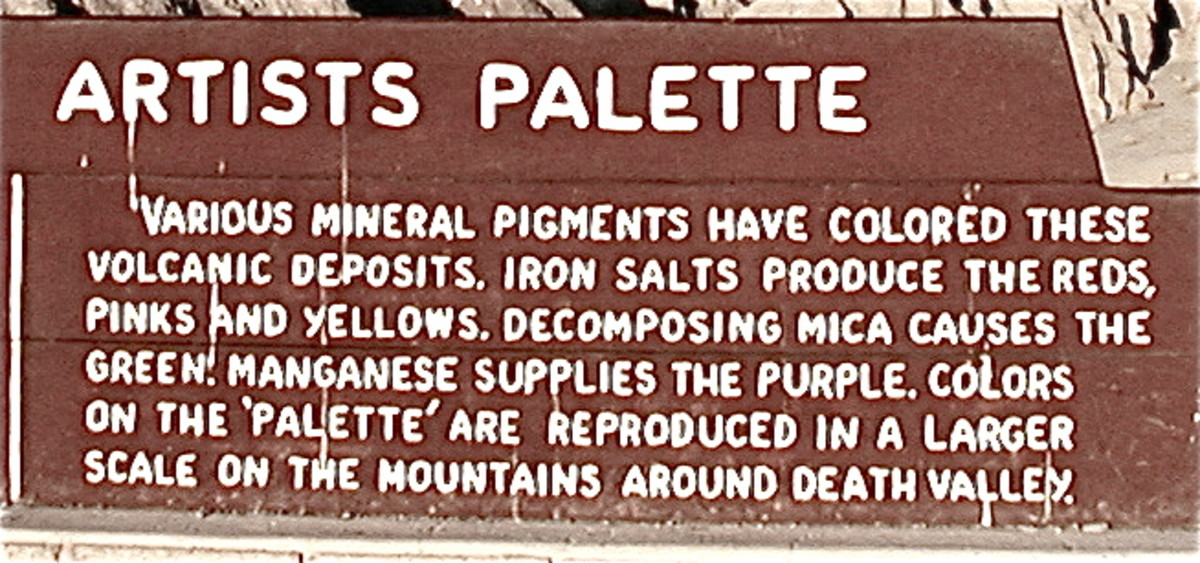Various mineral pigments have colored these volcanic deposits. Iron salts produce the reds, pinks and yellows. Decomposing mica causes the green. Manganese supplies the purple.
