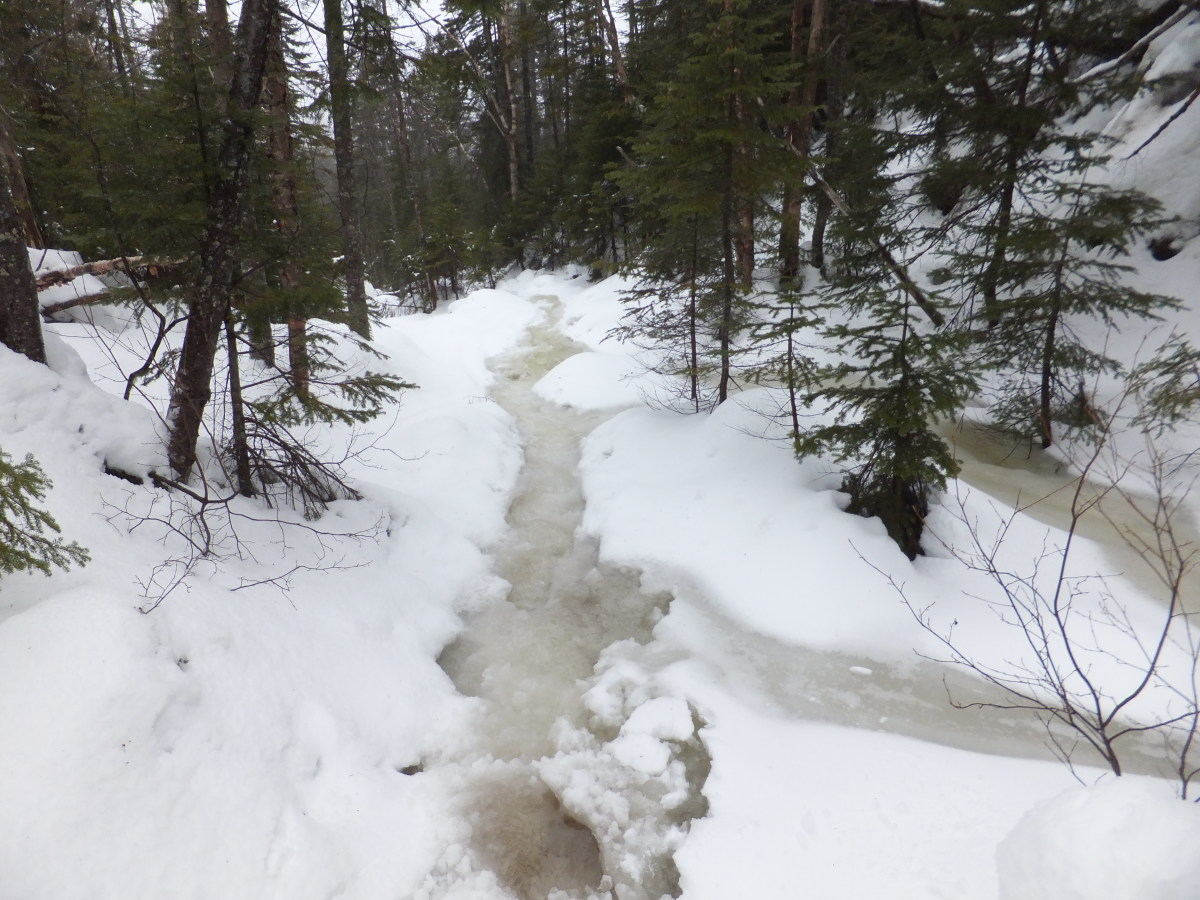 The trail was a little slushy - knee deep water in many places.