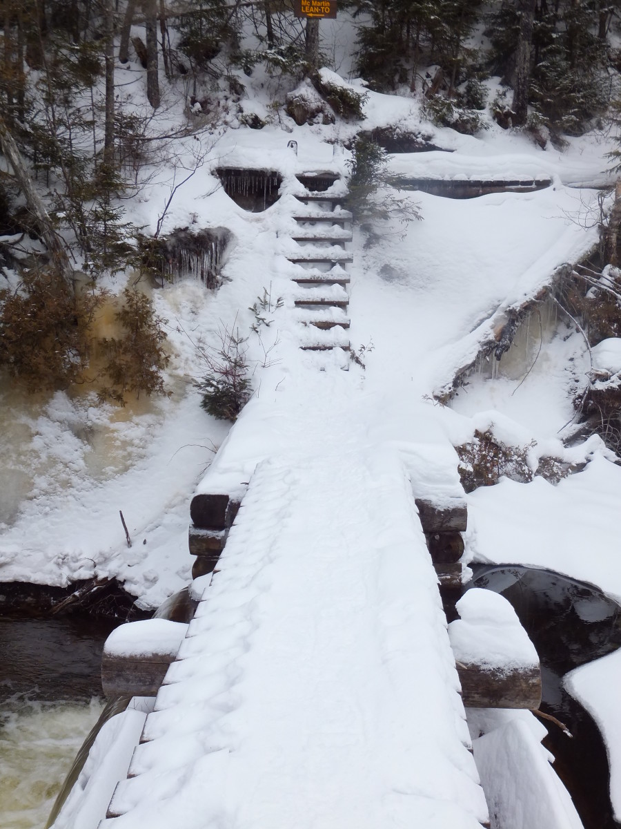 The snowy dam on Lake Colden - that ladder is fun to climb while wearing snowshoes.