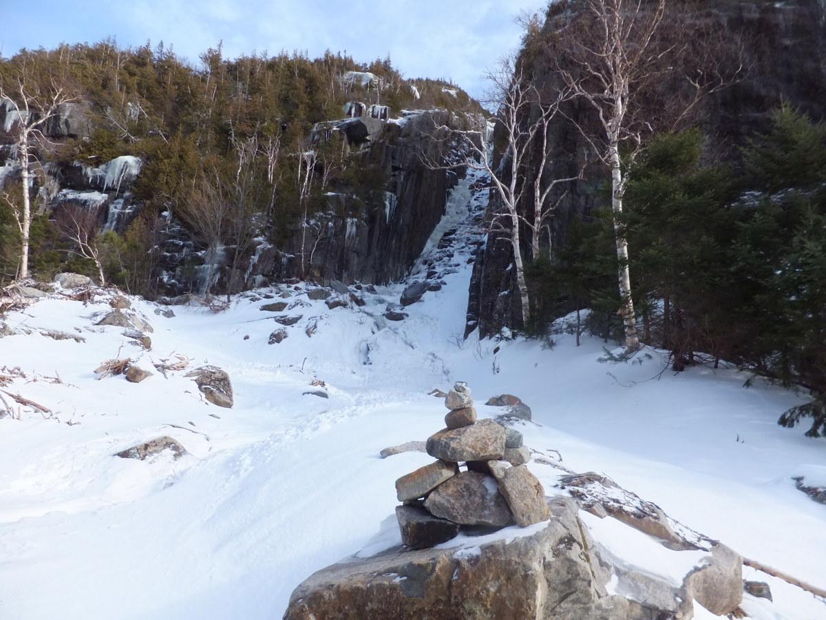A stone cairn (AKA - pile o' rocks) marks the Trap Dike.