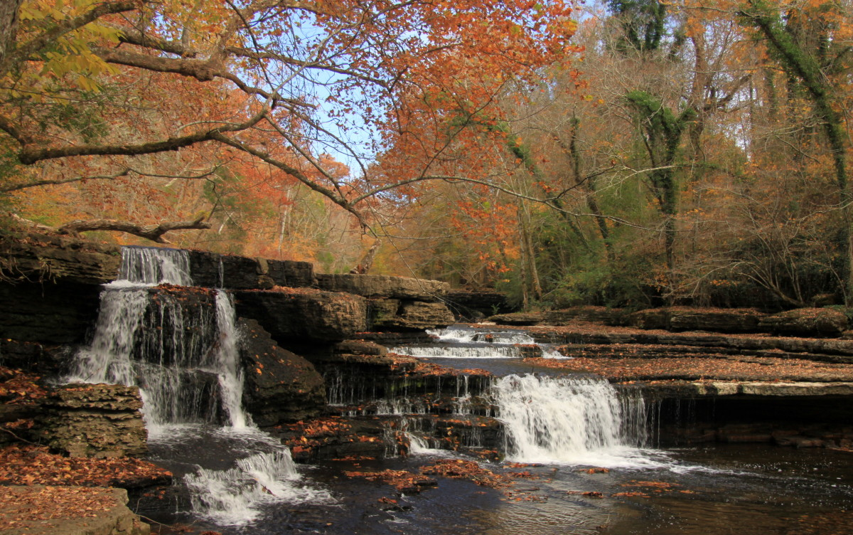 Waterfalls in Old Stone Fort State Park, near the confluence of the Duck and Little Duck Rivers