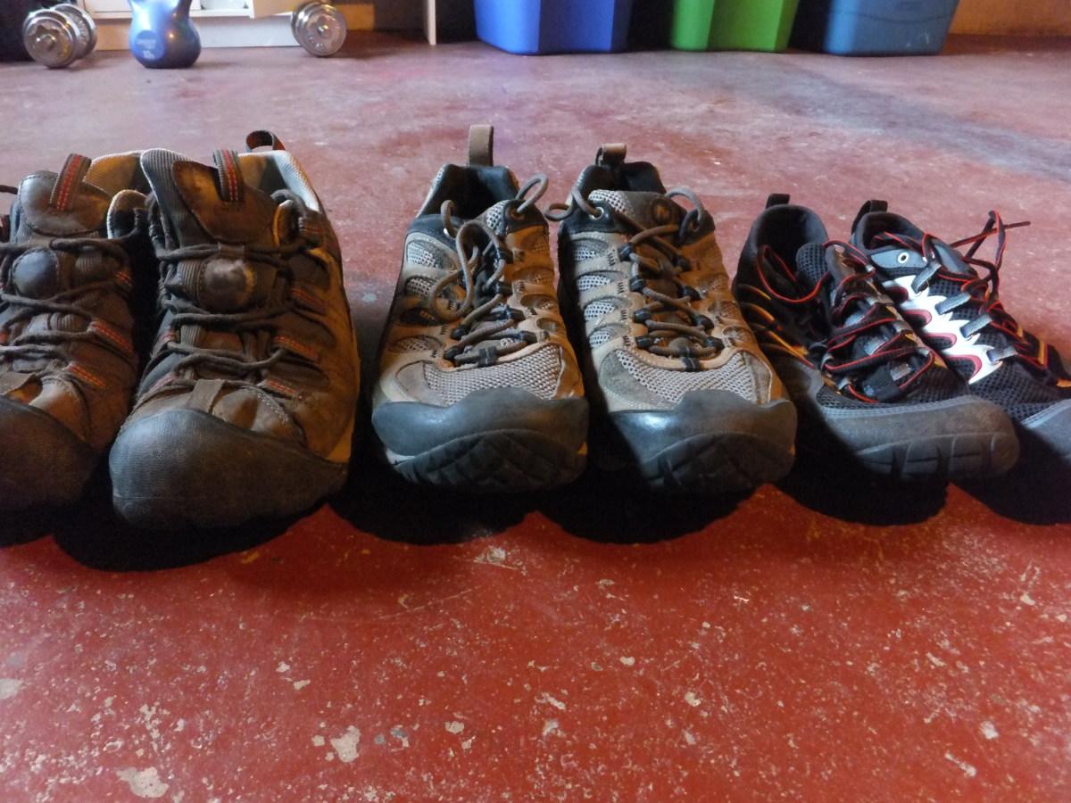 Three lightweight hikers: Keen Targhee, Merrell Refuge Core and Merrell Trail Glove