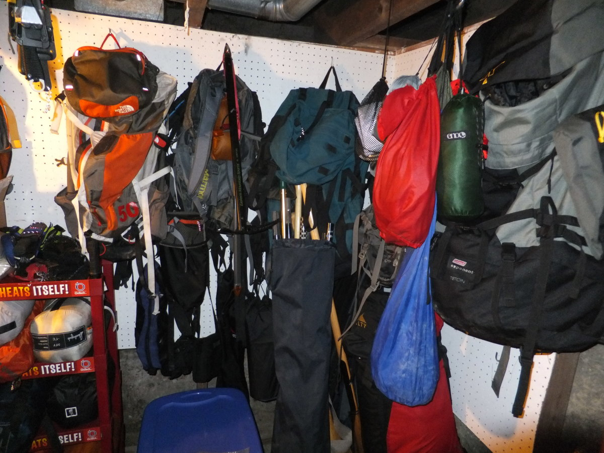 A well organized place to keep your gear helps you maintain your sanity while preparing for a camping trip.