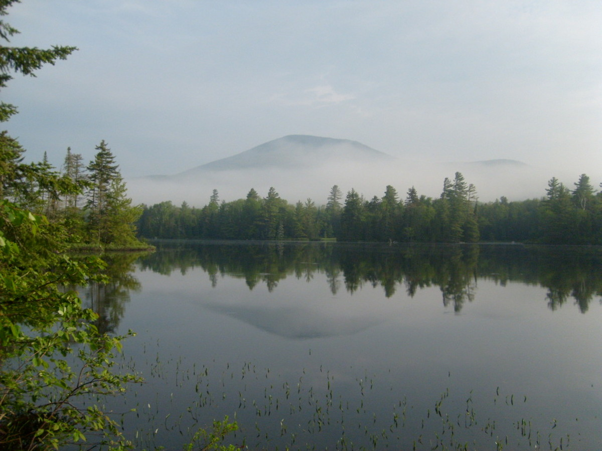 The view of Blue Mountain from Lake Durant campground in the Adirondacks.