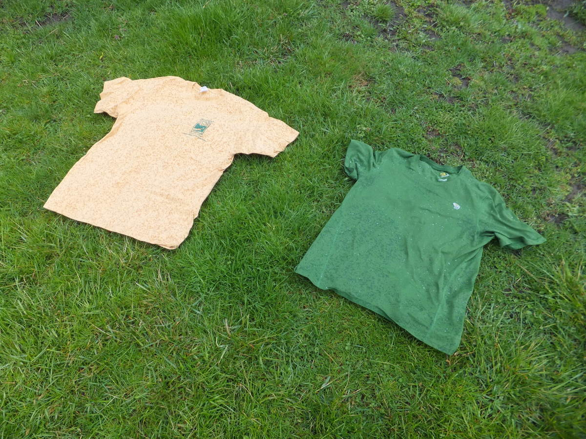 Two shirts out in the rain, my experiment.