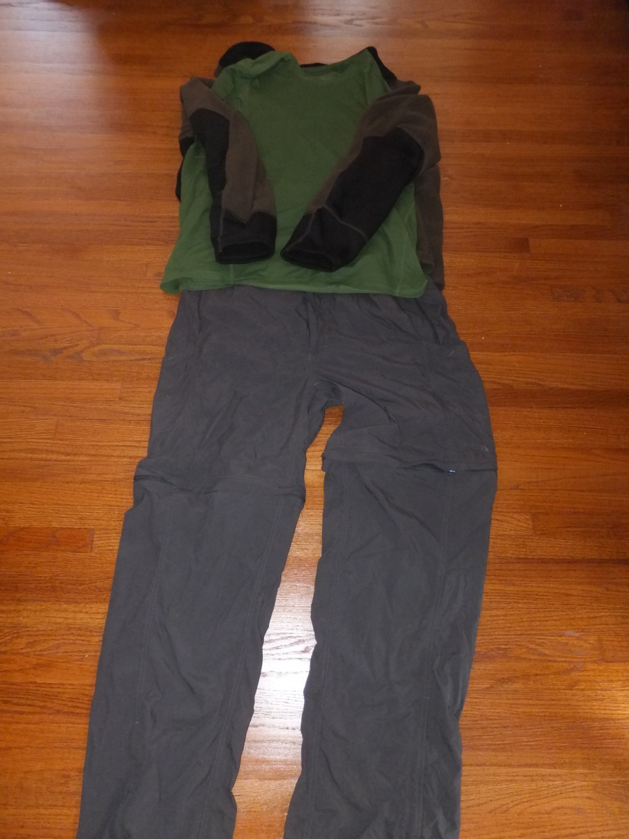Part of a comfortable hiking clothing system: North Face convertible pants, a Mountain Hardware fleece and t-shirt.