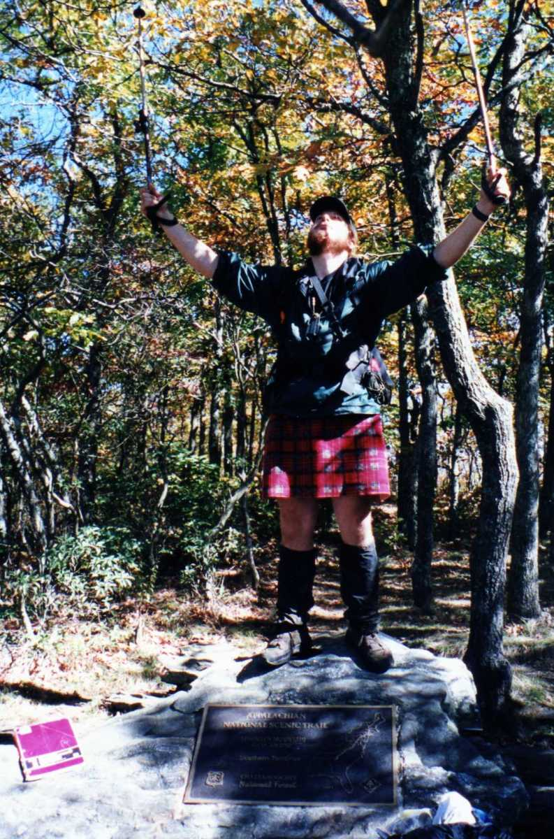 My triumphant finish on Springer Mountain in Georgia, the Southern Terminus of the Appalachian Trail.  Yes, I am wearing a kilt.