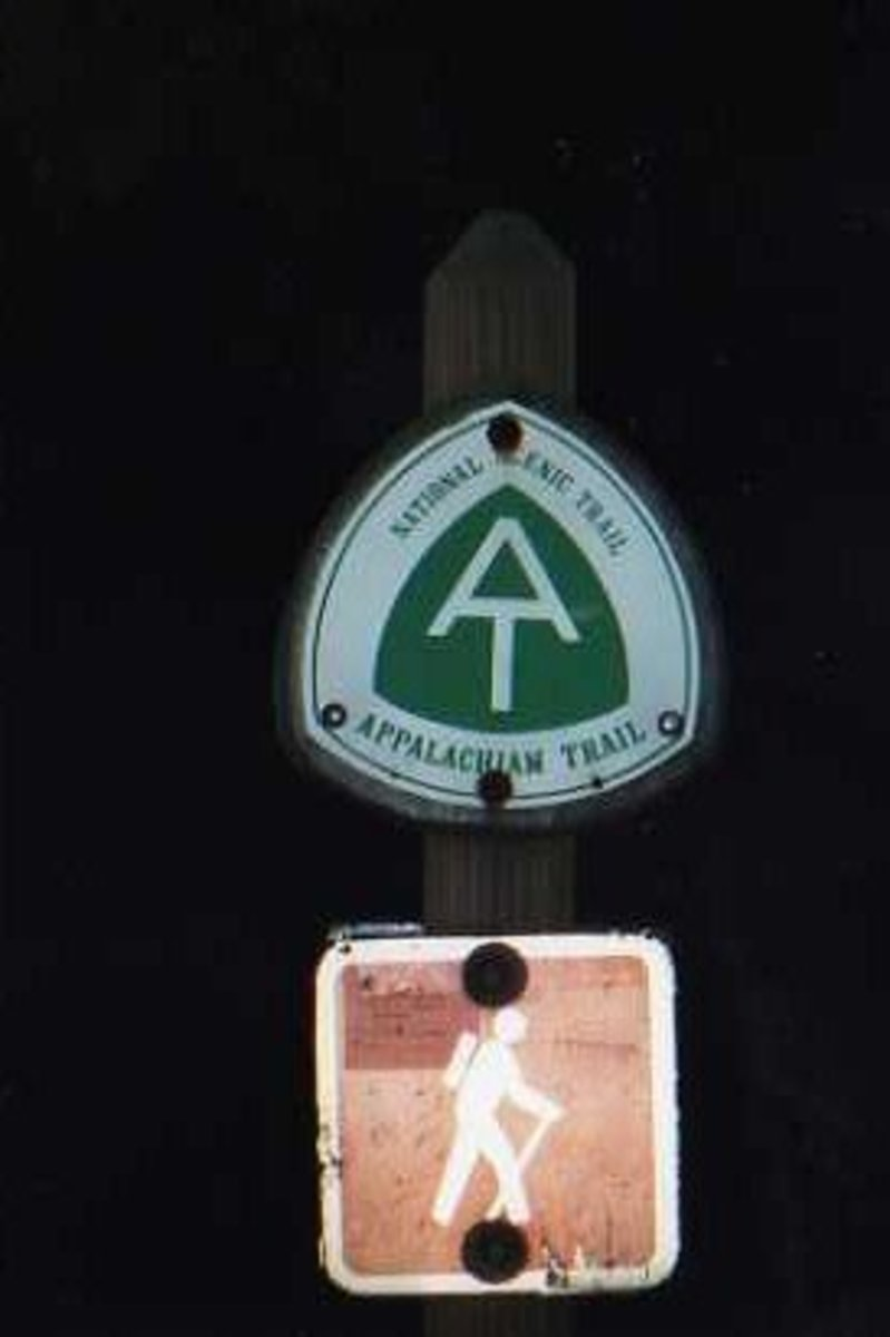 Most of the Appalachian Trail is marked with metal signs like this near roads and trailheads.