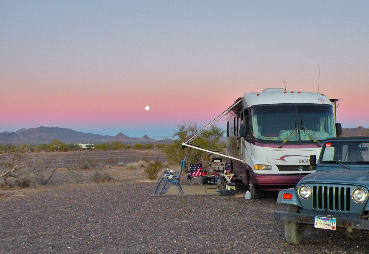 This desert campsite had no hookups, but made up for it with beautiful views of the sunsets and sunrises.