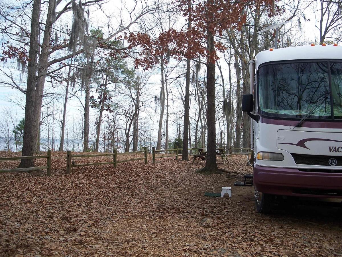 Beautiful woodland campground at Santee State Park in South Carolina.