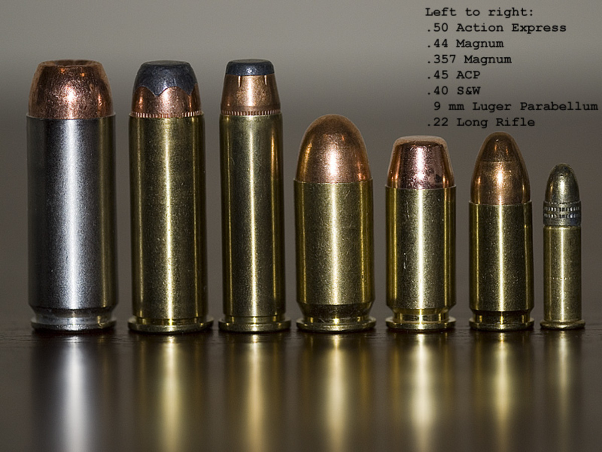 From Left to Right: .50 Action Express, .44 Magnum, .357 Magnum, .40 S&W, 9mm, .22 LR