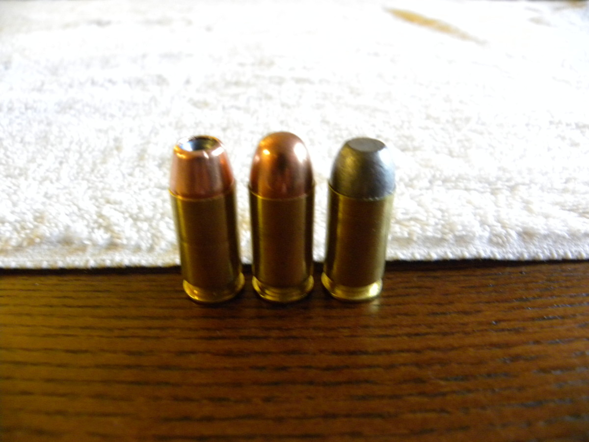 From left to right, Corbon .45 +P, Federal FMJ, and .45 Super Cast Lead Flatnose.