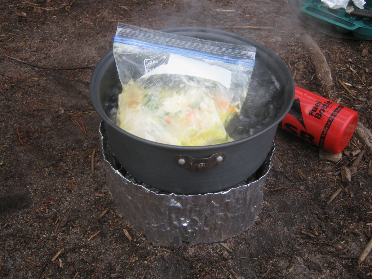 Freezer bag cooking in action