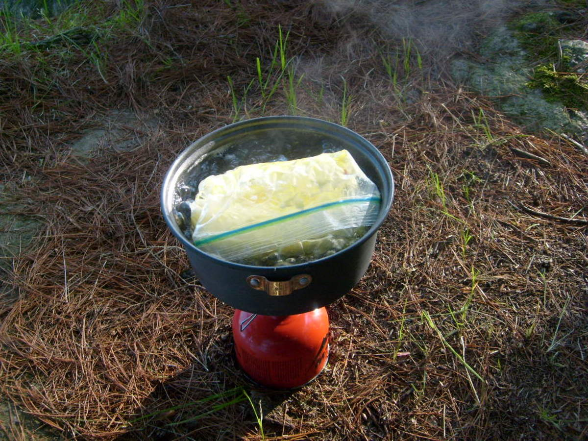 Though I usually use a fuel-efficient white gas stove, here is the same recipe using an MSR Pocket Rocket canister stove.