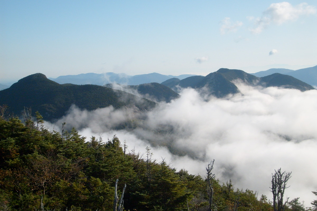 Mist in the Adirondack Great Range as seen on one of my ultralight backpacking trips.