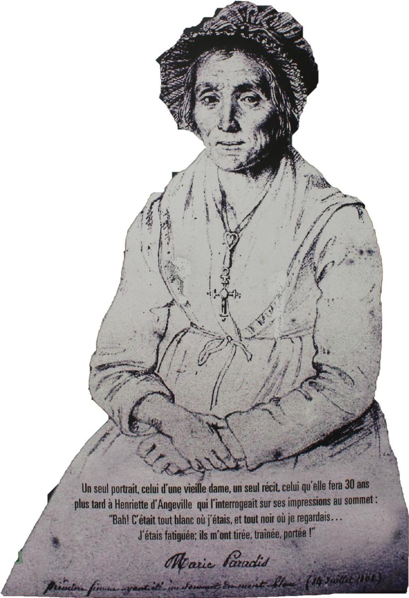 The only known portrait of Marie Paradis, the first woman to summit the highest mountain in Europe