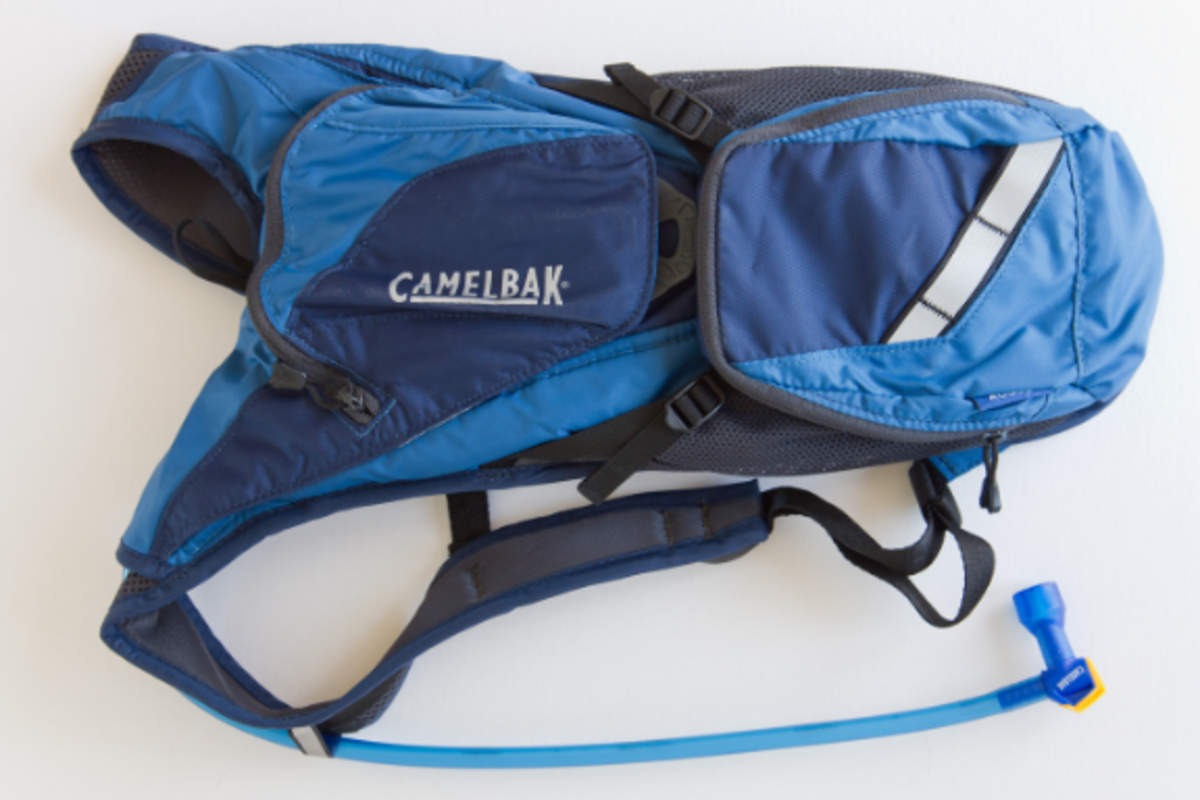 An example of a CamelBak hydration pack. The hose you drink from is at the bottom of the image.