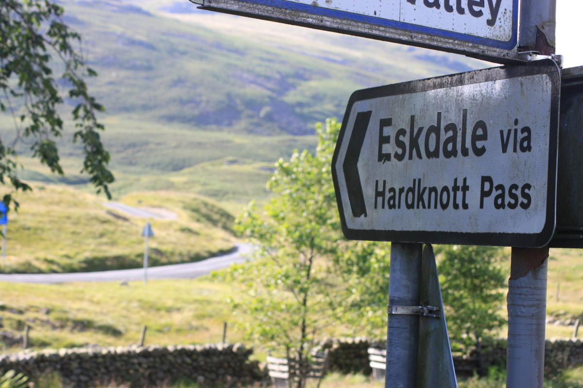 The start of the Hardknott Pass as signed from Cockley Beck T-junction