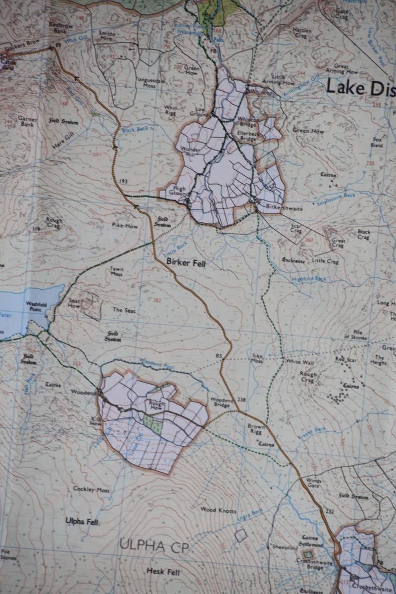 The climb over Birker Fell. Ordnance Survey Explorer Map OL6