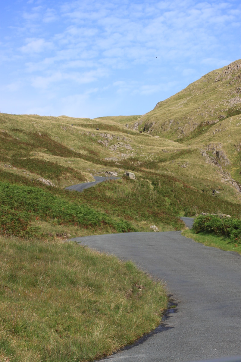 The view of the The Hardknott Pass from Eskdale