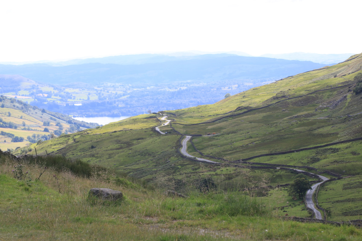 Looking down on 'The Struggle' from the Kirkstone Pass Inn