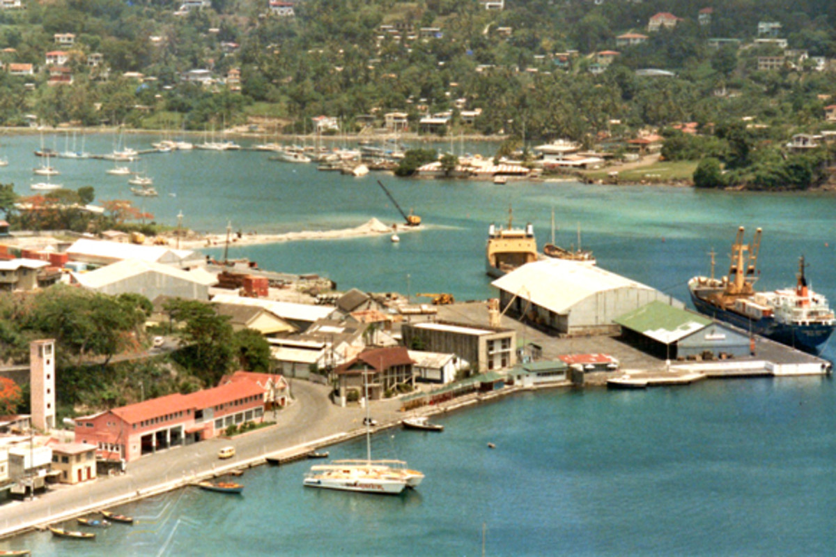 Turns out the water was OK for me in St. George's, Grenada, where I was a Peace Corps volunteer for two years. This is the harbour near where I worked. Grenada, 1985.