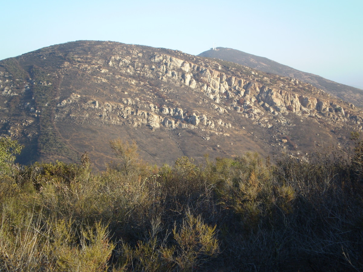 Cowles Mountain from the summit of Kwaay Pay, Mission Trails Regional Park.