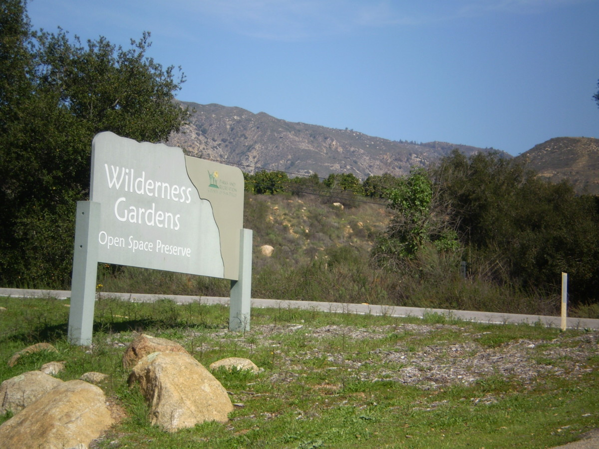 The entrance to Wilderness Gardens Preserve along Route 79.