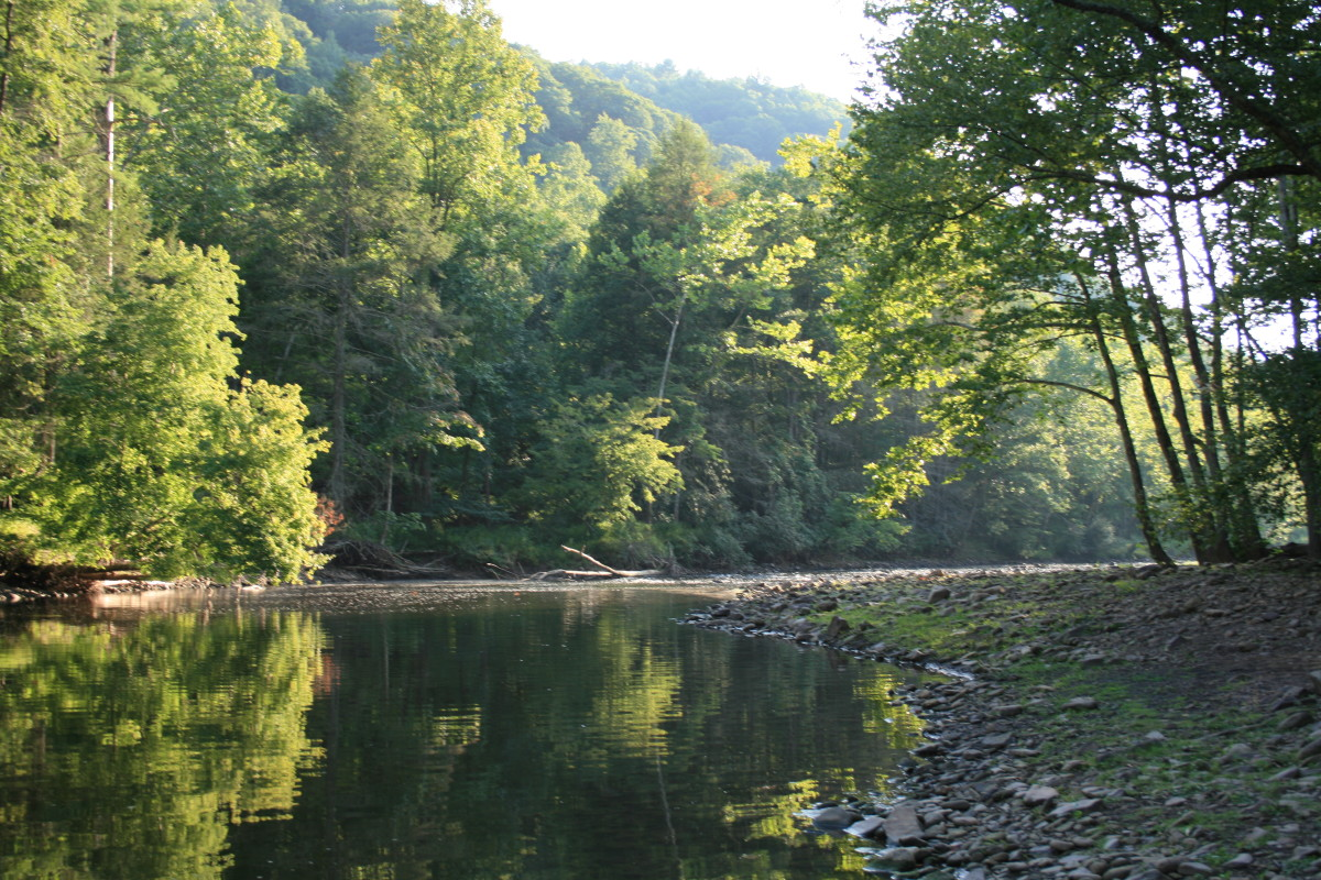 An evening walk along the river in Pipestem Resort State Park, WV.