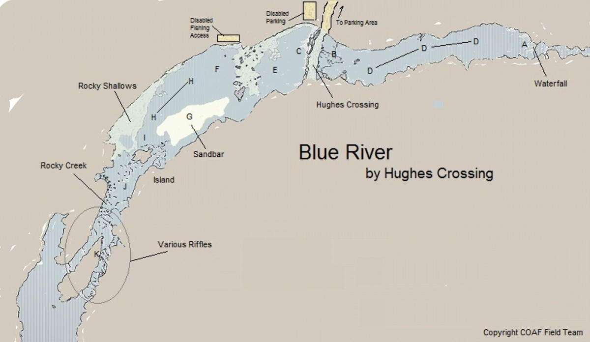 Blue river by hughes crossing suggested areas for rainbow for Fishing license in oklahoma