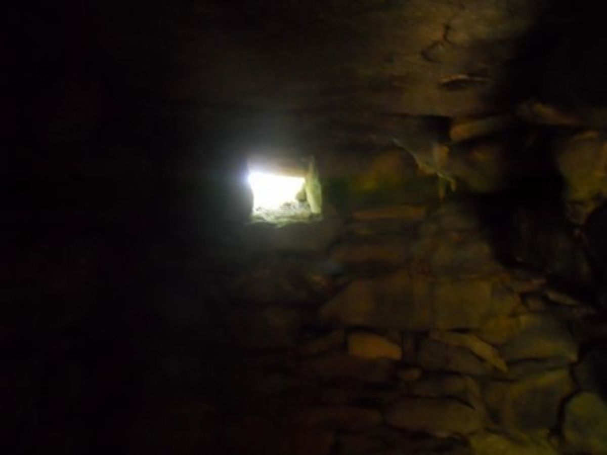 Once inside the chamber, you can see an opening in back. Twice a year, during the Equinox sunset,the light comes through this opening and through a tube illuminates the side chamber. This type of construction has been seen in ancient structures in Eu