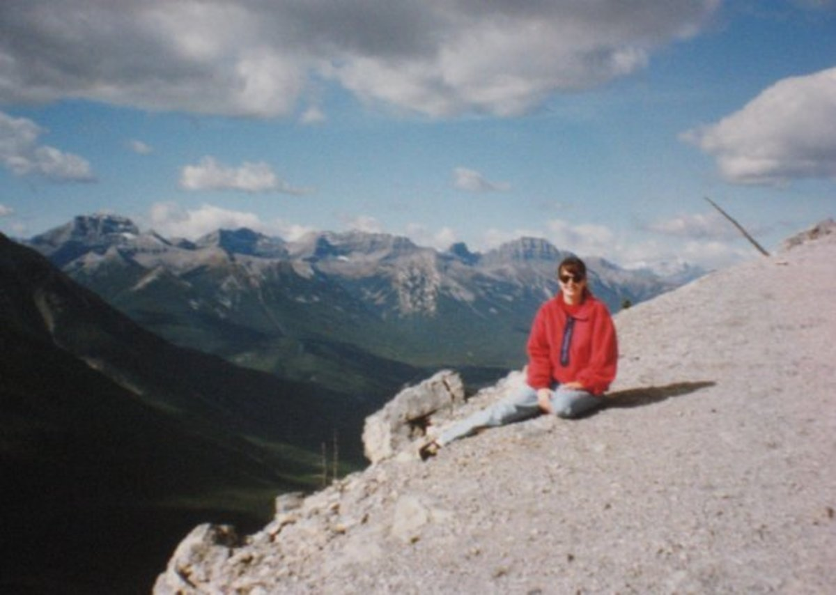 Hiking in the Canadian Rockies. Note: these sneakers are not recommended hiking footwear!