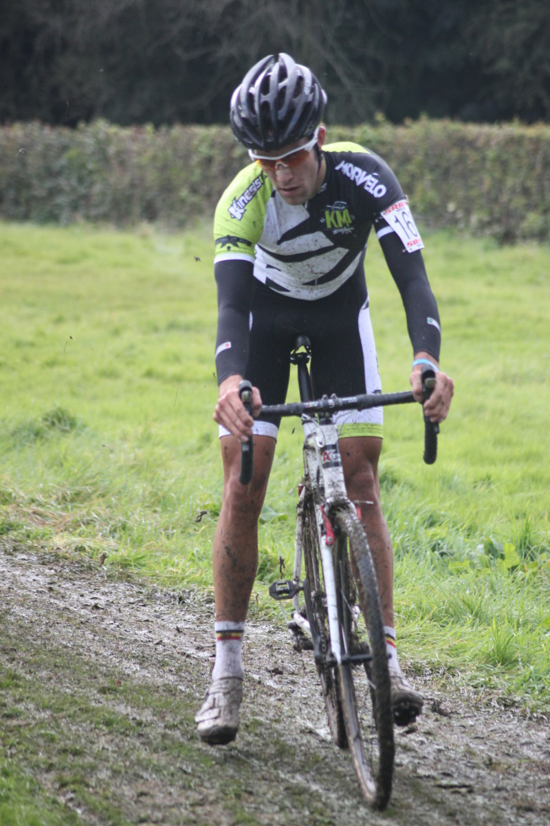 Bruce Dalton of Kinesis Morvelo Project making good use of his Crank Brothers Candy Pedals for cyclocross.
