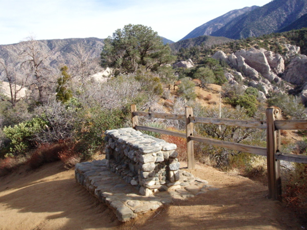 Sturdy rock benches are scattered along the upper trail on both sides of the Nature Center for resting and viewing.