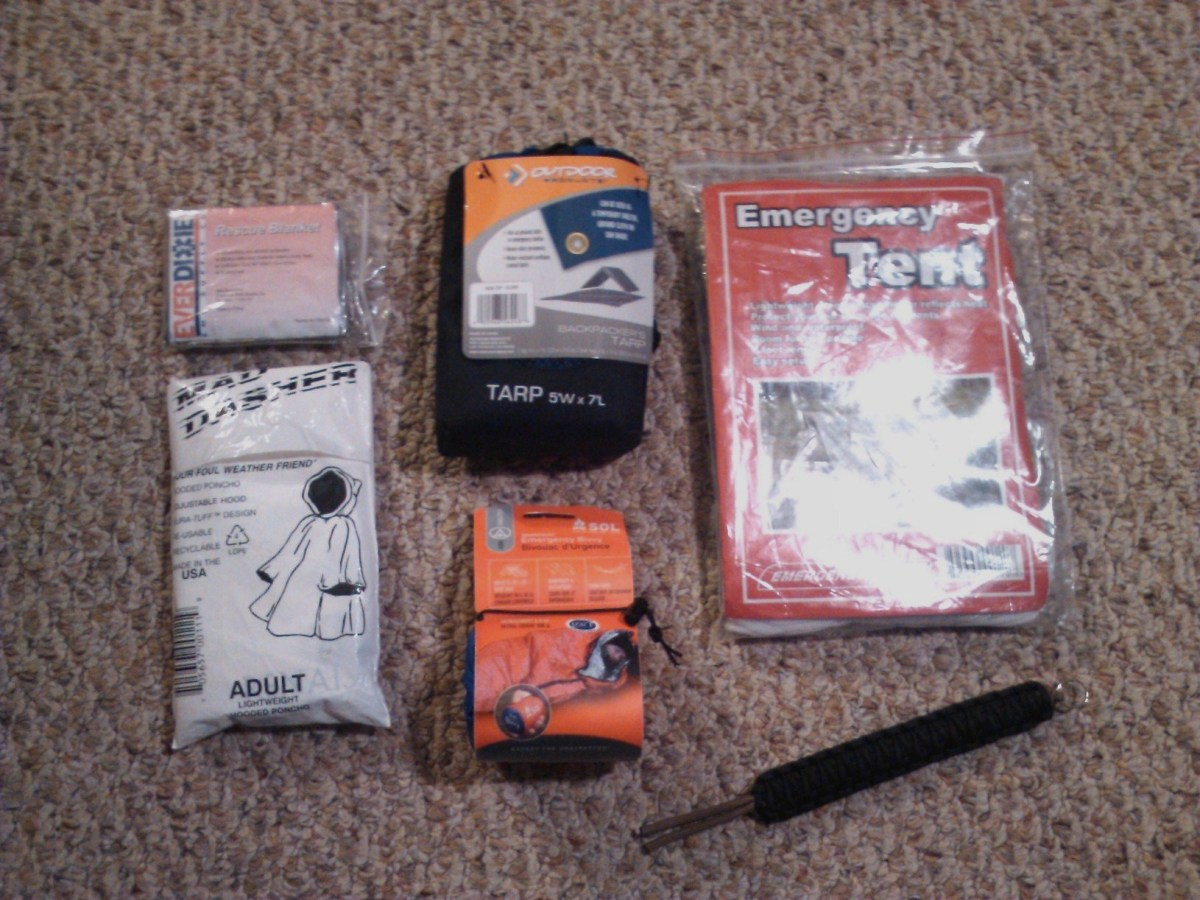 From left to right: rescue blanket, emergency tarp, emergency tent, poncho, emergency bivvy, and parachute cord.