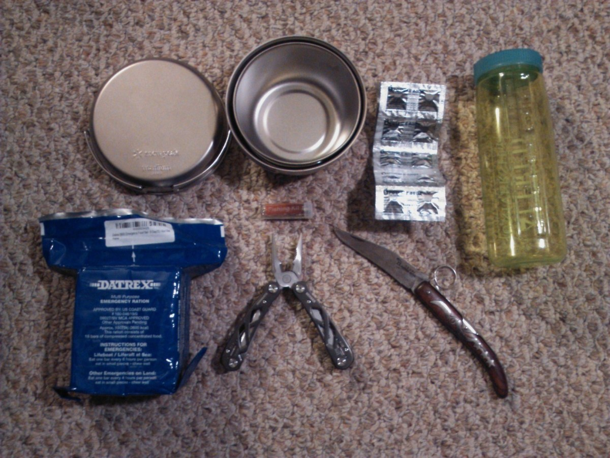 From left to right: steel pot and pan, water purification tablets, container, rations, multi tool and flip knife.