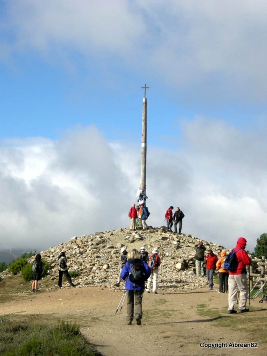 Cruz de Ferro, where people have created a mound of rocks from either the surrounding area or that they have carried all the way from home.