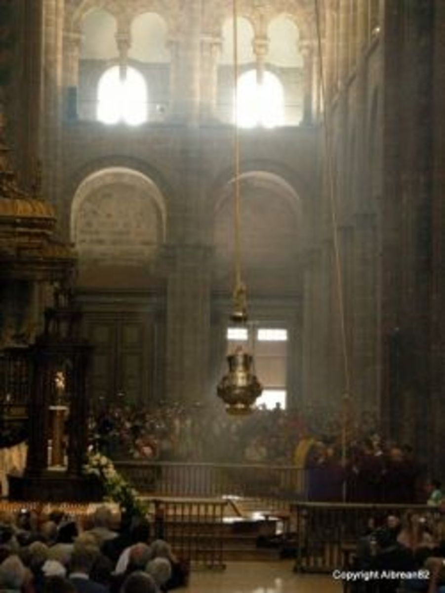 Attending pilgrims' mass at the Santiago Cathedral.